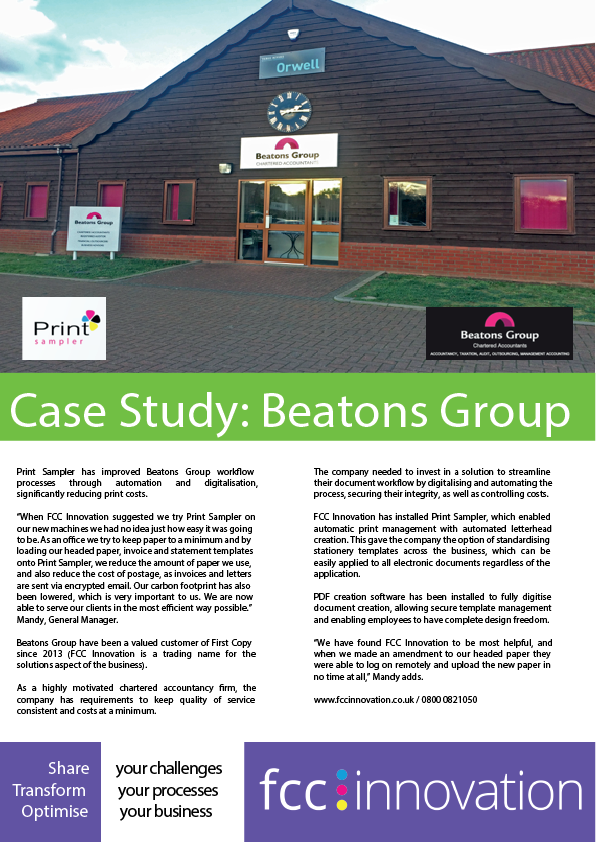 Beatons Group case study about the implementation of Print Sampler software