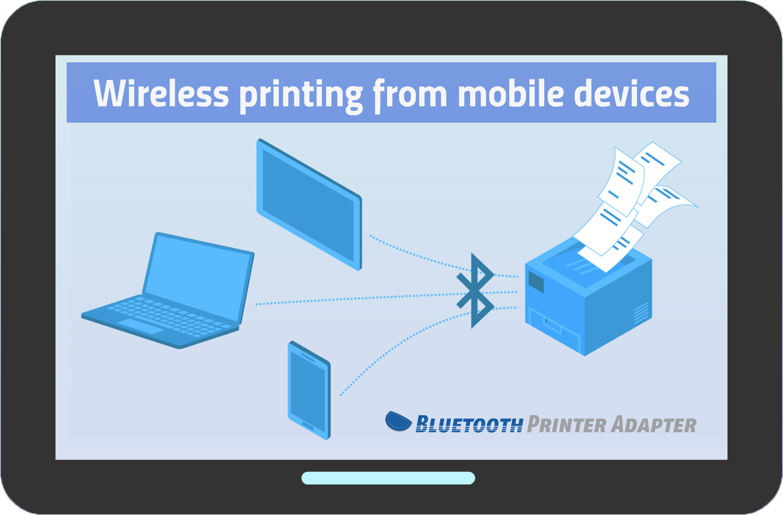 Wireless printing via Bluetooth in the office and on the go