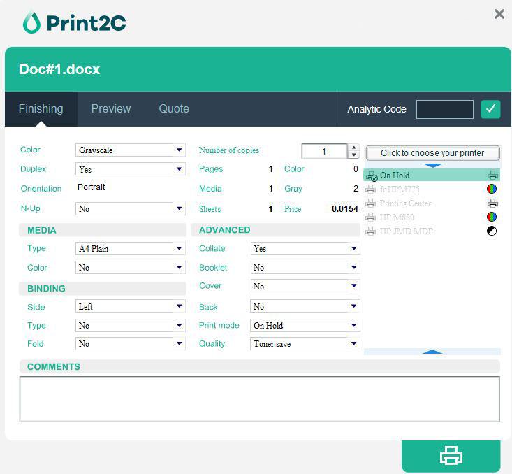 Print2C driver config panel
